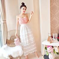 201808142231298952018夏季时尚韩版新款吊带露肩背花朵上衣+层层长裙套装女潮 粉红色