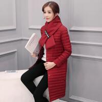 2017韩版修身秋冬围巾薄款羽绒服女轻薄立领中长款外套潮 S 95斤以下