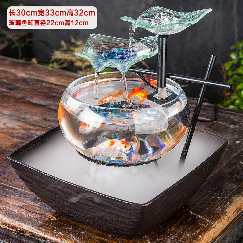 客厅玻璃鱼缸电视柜流水摆件喷泉家居办公桌面加湿器创意开业礼品 一般在付款后3-90天左右发货,具体发货时间请以与客服协商的时间为准