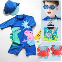 儿童泳衣男童可爱卡通猪连体宝宝婴儿游泳衣恐龙温泉