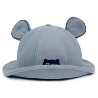儿童渔夫帽宝宝遮阳帽子秋冬季女童公主帽可爱兔耳朵太阳帽 112385 灰蓝