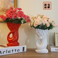 【支持礼品卡支付】天鹅花瓶玫瑰花 假花仿真花艺套装卧室摆设 客厅餐桌家居装饰摆件
