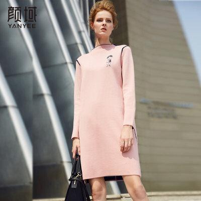 颜域品牌女装2017新款冬季针织连衣裙气质宽松打底中长款毛衣裙女针织面料,手感柔软.