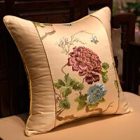 新中式古典抱枕沙发靠垫套含芯大靠背牡丹花刺绣靠枕腰枕定做
