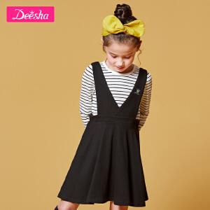 【2折价:57】笛莎童装女童套装2019春装新款中大童儿童背带裙T恤两件套装