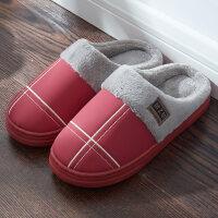 棉拖鞋女冬季皮防水室内家居家用毛毛保暖防滑厚底情侣男半包跟秋