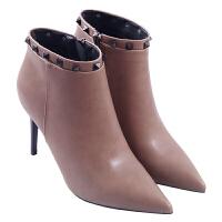 秋冬季新款高跟性感尖头短靴女靴欧美时尚细跟铆钉侧拉链加绒马丁靴真皮