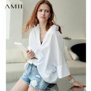 【到手价:103.9元】Amii极简法式欧货心机衬衫女2019夏季新款纯色落肩袖显瘦圆摆上衣