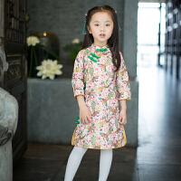 宝宝周岁礼服夏装一岁女童的旗袍少女儿童冬装中国风唐装中国过年 粉色