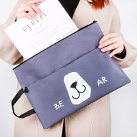 a4文件袋帆布双拉链韩国小清新补习袋补课包手提袋资料袋档案袋