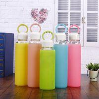 果冻色硅胶套高棚硅玻璃杯耐高温玻璃水杯 女士学生礼品杯广告杯