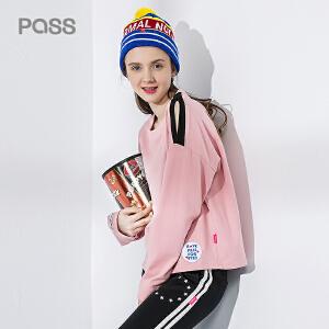 pass2017新款秋装宽松t恤女长袖圆领体恤漏肩上衣女韩版学生潮