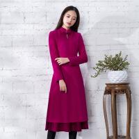 羊毛呢旗袍长款中国风2018冬季新款中国风女装 复古毛呢改良袍子 玫红色