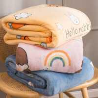 珊瑚法兰绒毯子垫床单人学生宿舍午睡毛毯小毛巾被子加厚冬季保暖