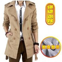 风衣男中长款韩版修身学生外套青少年秋冬季加绒加厚大衣大码男装