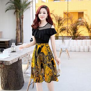 夏季2018新款女装时髦套装两件套韩版时尚中长款雪纺碎花连衣裙子