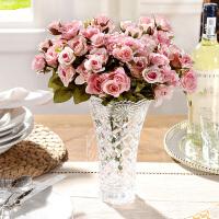 奇居良品 整体花艺米娜B款水晶玻璃花瓶配仿真花玛利亚玫瑰3束