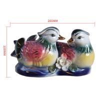 鸳鸯陶瓷摆件一对创意家居装饰品结婚礼物旺姻缘风水卧室床头小 花色
