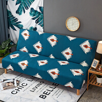 0729013426942简易弹力沙发床套子无扶手沙发折叠紧包式沙发套全包垫沙发罩 花色 蓝羽毛ZR 适合150~19