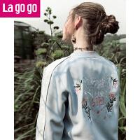 【每满200减100】Lagogo2018春季新款棒球衫女装夹克短款绣花甜美蓝色刺绣长袖外套