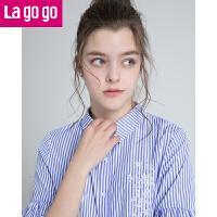 【清仓3折价107.7】Lagogo/拉谷谷2019年夏新款时尚小清新学院风条纹衬衫HACC222F11