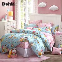 多喜爱加菲猫系列全棉卡通三/四件套斜纹床上用品套件加菲奇妙夜