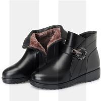 妈妈短靴女冬大码女靴41-43加绒平底皮鞋保暖防滑坡跟中老年棉鞋SN9965