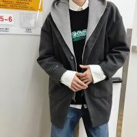 №【2019新款】冬天美女穿的中长款情侣呢大衣韩版潮学院风男女可脱卸毛线帽加厚风衣外套