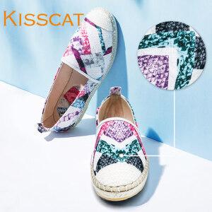 接吻猫渔夫鞋懒人鞋舒适编织平跟单鞋女DA76594-51