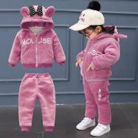 宝宝冬装套装女0一1-2-3岁韩版潮婴儿衣服女童洋气加绒加厚两件套巴