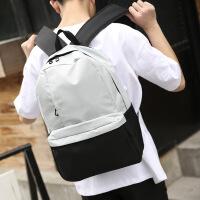 韩版男女中大学生书包纯色简约双肩包青少年百搭电脑背包帆布包潮