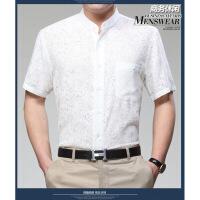 衬衫男短袖桑蚕丝薄款夏季商务休闲中老年宽松亚麻纯白衬衣