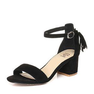 Tata/他她2018夏羊皮通勤流苏一字带粗跟女皮凉鞋S2A04BL8