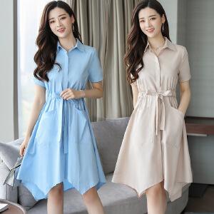 2018夏季新款女装衬衫裙韩版气质收腰连衣裙中长款显瘦港风裙子潮