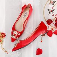 婚鞋女冬季结婚酒红色新娘鞋礼服中式秀禾水晶鞋孕妇伴娘平底单鞋SN3242