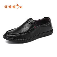 红蜻蜓男鞋春秋季新款尖头皮鞋休闲套脚鞋真皮舒适单鞋