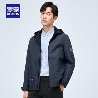 罗蒙(ROMON)男士短款夹克2021春季新款百搭中青年时尚休闲可拆卸帽子外套