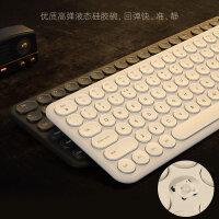 BOW航世静音无线键盘鼠标 笔记本台式电脑外接便携办公迷你小键鼠套装白色女生可爱非充电