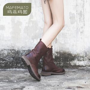 玛菲玛图酒红色女靴春秋单靴新款拉链真皮中筒靴中跟复古女鞋5751-5
