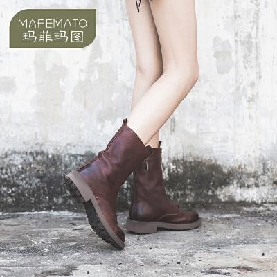 玛菲玛图酒红色女靴春 单靴2018新款拉链真皮中筒靴中跟复古女鞋M19815751T5原创设计女鞋,晒图有红包。