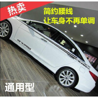 20180826220843819北京现代名图朗动改装汽车用品贴纸瑞纳索八车身腰线拉花全车贴纸 反光材料 白色