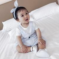 新生儿套装夏季婴儿衣服纯棉短袖薄款潮女小童韩版宝宝两件套