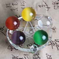 天然五彩水晶球五色水晶摆件 七星阵招财补五行化煞镇宅