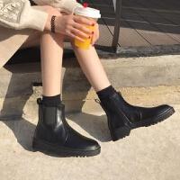 马丁靴女英伦风短靴2018新款秋冬韩版百搭学生加绒靴切尔西靴子女 黑色