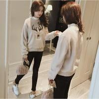 韩版绒衫亮片麋鹿毛绒卫衣外套女秋冬学生加厚套头金丝绒上衣