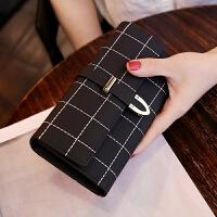 女士钱包女 长款磨砂 日韩版大容量多功能三折女式钱夹皮夹手拿包