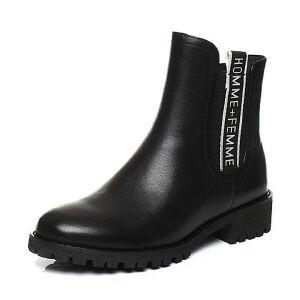 Teenmix/天美意2017冬牛皮/纺织品字母织带优雅方跟女靴DF011DZ7