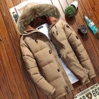 男士冬装加厚羽绒服 真毛领连帽白鸭绒短款保暖外套