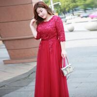 大码敬酒服新娘2018新款胖mm200斤红色显瘦回门胖妹妹结婚晚礼服 酒红色