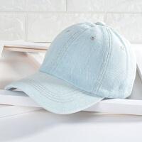 韩版鸭舌帽男款女士牛仔帽春夏季休闲情侣遮阳帽透气晒棒球帽子 可调节